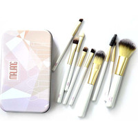 New 9 Pcs Top Grade Professional Cosmetic Makeup Brushes Set With Metal Boxes High Quality Hot
