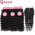 7А Бразильский Глубокая Волна С Закрытием Queen Hair Products With закрытие 4 шт. Бразильские Глубоко Вьющиеся Человеческие Волосы С Lace Closure +