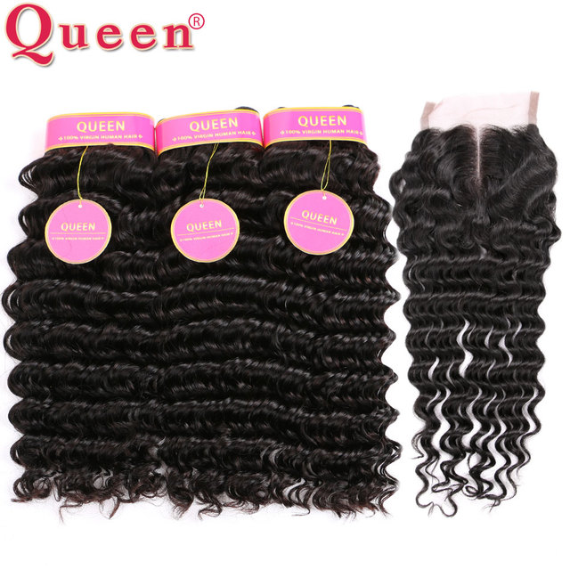 7A Brazilian Deep Wave With Closure Queen Hair Products With Closure 4pcs Brazilian Deep Curly Human Hair With Lace Closure A+