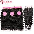 Queen hair products 7a onda profunda brasileira com fechamento com fechamento 4 pcs encaracolados profundas brasileiras cabelo humano com lace closure A +