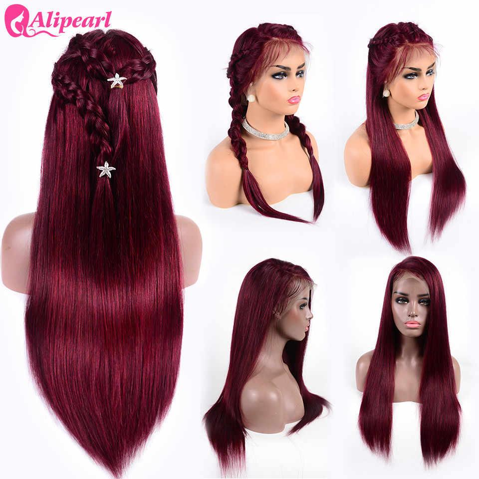 Волосы alipearl прямые волосы на фронте шнурка человеческие парики для черных женщин 99J бразильские виргинские волосы парики предварительно сорванные 150% 180% плотность