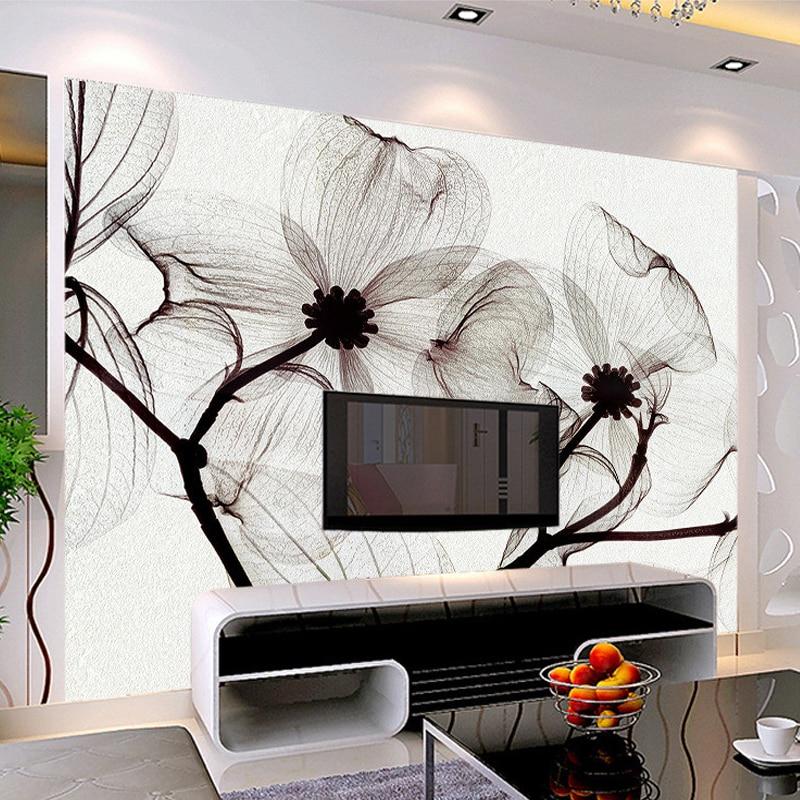 Custom Mural Wallpaper 3D Non Woven Black And White Flower Hand Painted  Paintings Living Room Sofa TV 3D Wall Murals Wallpaper