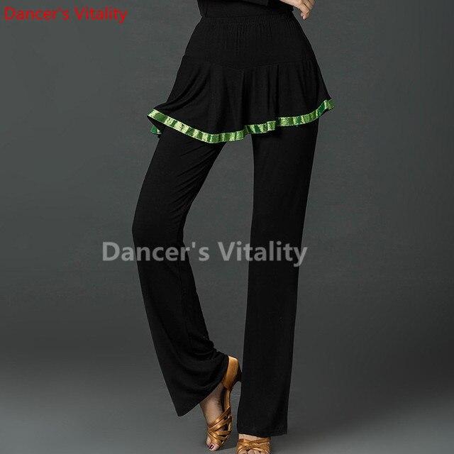 2017new Для женщин Костюмы для бальных танцев одноцветная юбка Брюки для девочек Костюмы для латиноамериканских танцев ритм Сальса Свинг страна Танцы Брюки для девочек широкие Танцы практика брюки Бесплатная доставка