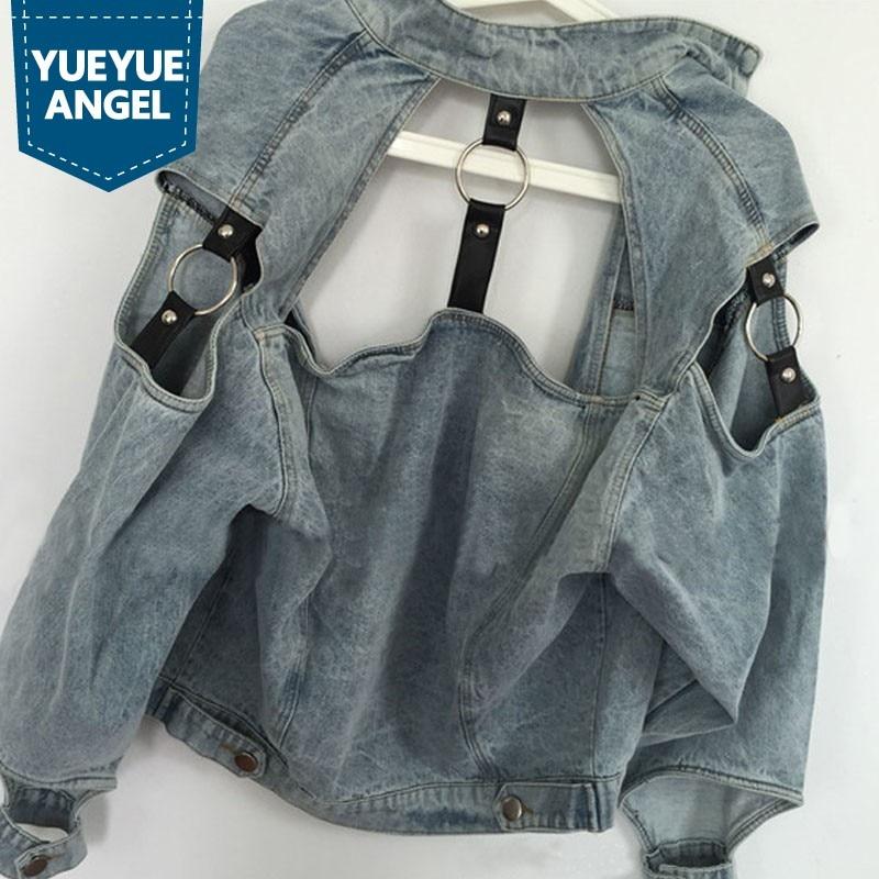 2018 Harajuku Womens Clothing Retro Punk Outwear motorcycle Denim Jackets Vintage Water Wash White Female Cowboy Jacket Coats