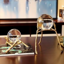 classical creative Crystal glass ball statue home decor crafts room decoration objects office study copper figurines