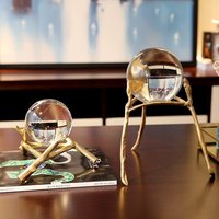 classical creative Crystal glass ball statue home decor crafts room decoration objects office study copper glass ball figurines