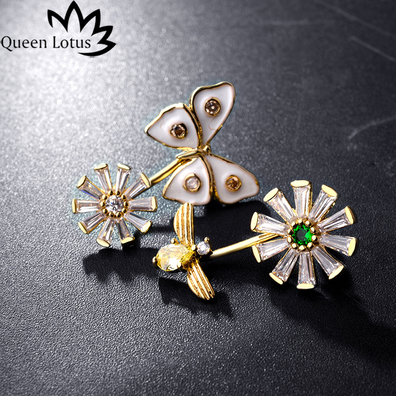 Queen Lotus 2017 new women Jewelery Fashion customized flowers bowknot lady earrings micro-zircon Silver copper girl gift party