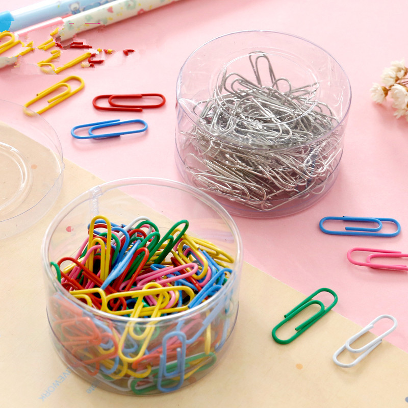 100pcs/set Creative Paper Clips Office Supplies Colorful Cute Staples Memo Clip Note Holder