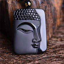 5pcs/lot Natural Black Obsidian Stone Carving Buddha Head Pendant Women Men's Amulet Lucky Jades Jewelry Pendants+Beads Necklace obsidian necklace natural stone wolf head pendant buddha guardian ball chain carving amulet with obsidian blessing lucky jewelry