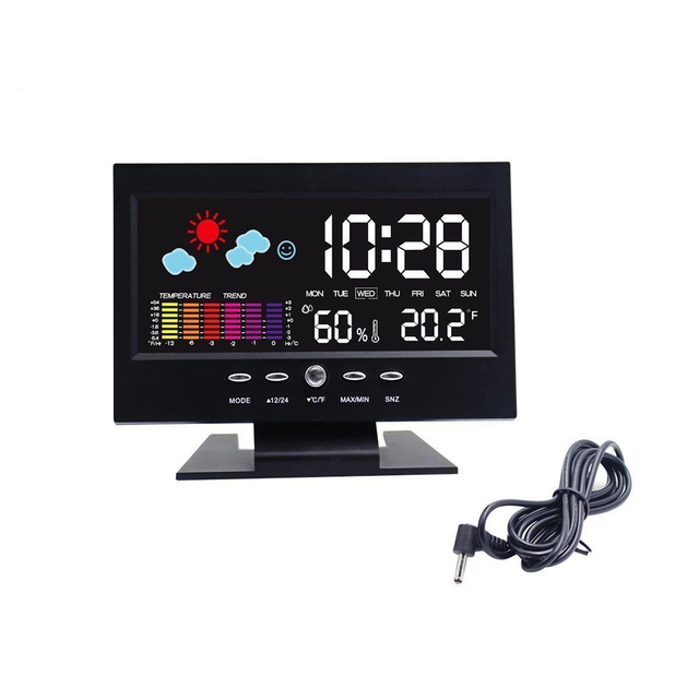 Creative Digital Desk Clock Sound Sensor Light Up Clock with LCD Display Calendar Temperature Clock 2017