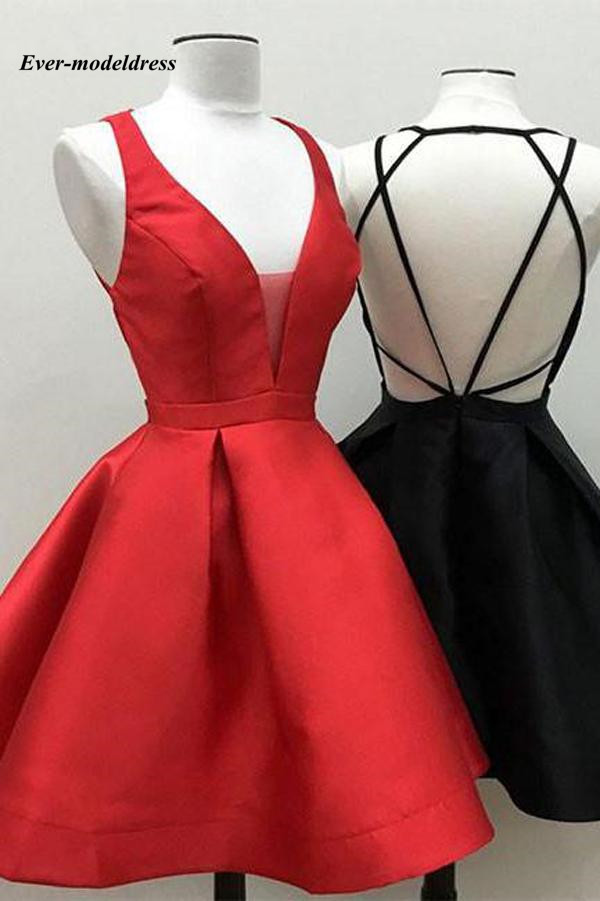 2018 Short Cheap   Bridesmaid     Dresses   Royal Blue Burgundy V-Neck Backless Wedding Guest Maid of Honor   Dress   Gowns