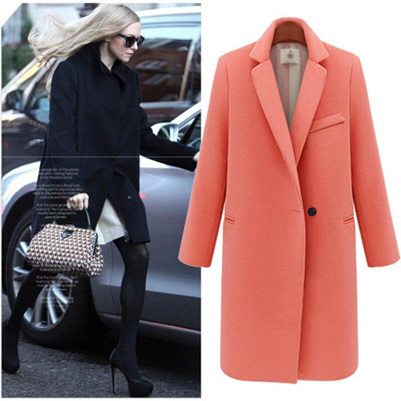 Clearance Wool Blends V Neck Long Coat Women Winter