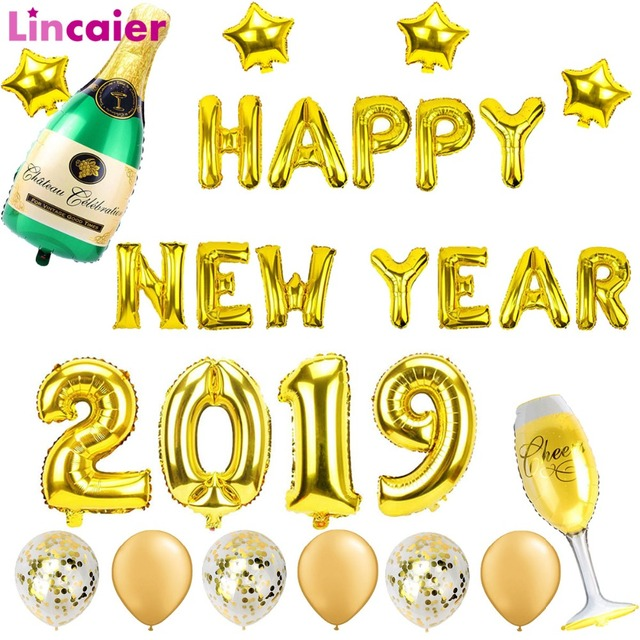 lincaier 2019 happy new year gold foil balloons eve party decor 2018 merry christmas decorations for