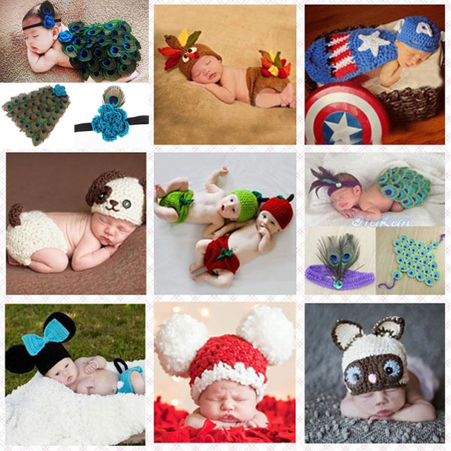 Crochet pattern baby hat with cover animal style newborn photography props costume outfit peacock mickey
