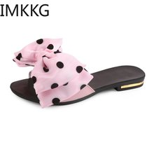 Women's Flat Sandals Bowtie Slipper Flats Sandal Open Toe Summer Shoe Women Sexy Party Beach Female Footwear S80021