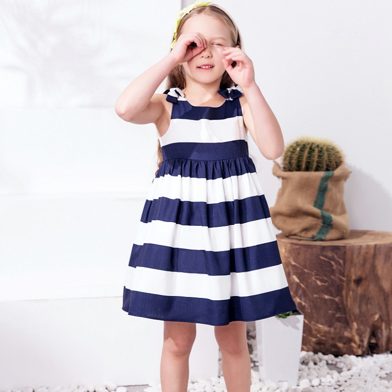 Girls Dress Summer 2017 Striped Prinsessenjurken Meisjes Vestido Toddler Dresses with Bow Festa Infantil Girls Summer Clothes summer girls dresses denim dresses for girls vestido infantil coat denim baby dress 2pcs set with belt toddler party clothes