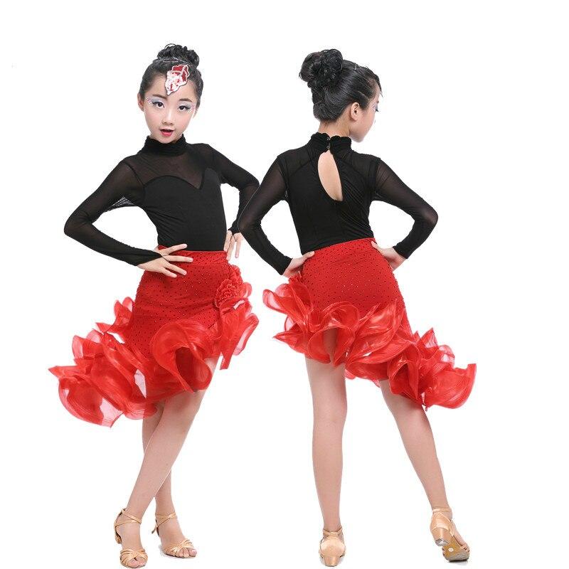 Ragazza latin dance costume stage di usura della ragazza concorso sala da  ballo latino prestazioni costume di ballo junior tango salsa dress in  Ragazza ... cfe272de31c9