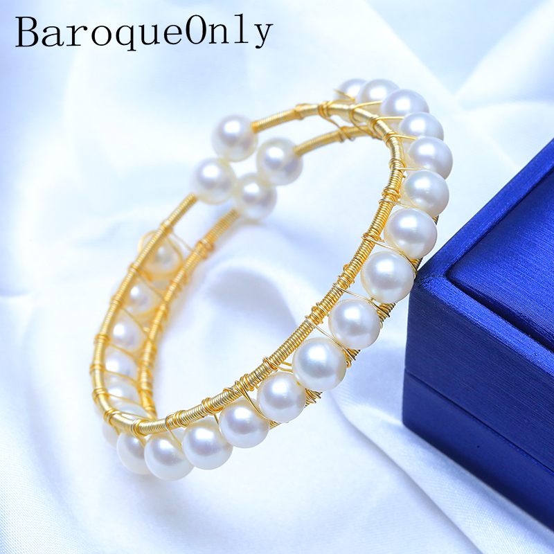 BaroqueOnly golden wire wrapping charming bracelet bangles Real Natural Freshwater Pearl for Women wedding fashion Jewelry HJ charming woven floral rivet bracelet for women