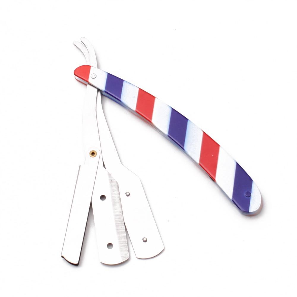 14*2cm Holder Knife Professional Barber Edge Steel Folding Shaving Knife Beard / Hair Removal Tools Shaving Razor+Blade C6110