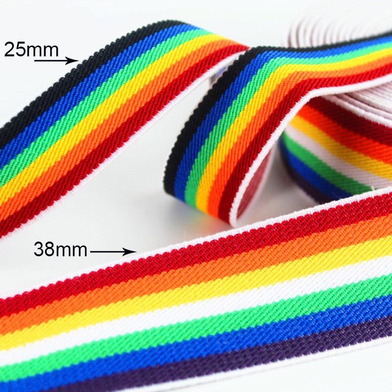 Regenbogen Elastische Bands 25mm 38mm Bunte Elastische Durable Gummi Gürtel Band DIY Nähen Kleid Hosen Schuhe Kleidung Zubehör 1M