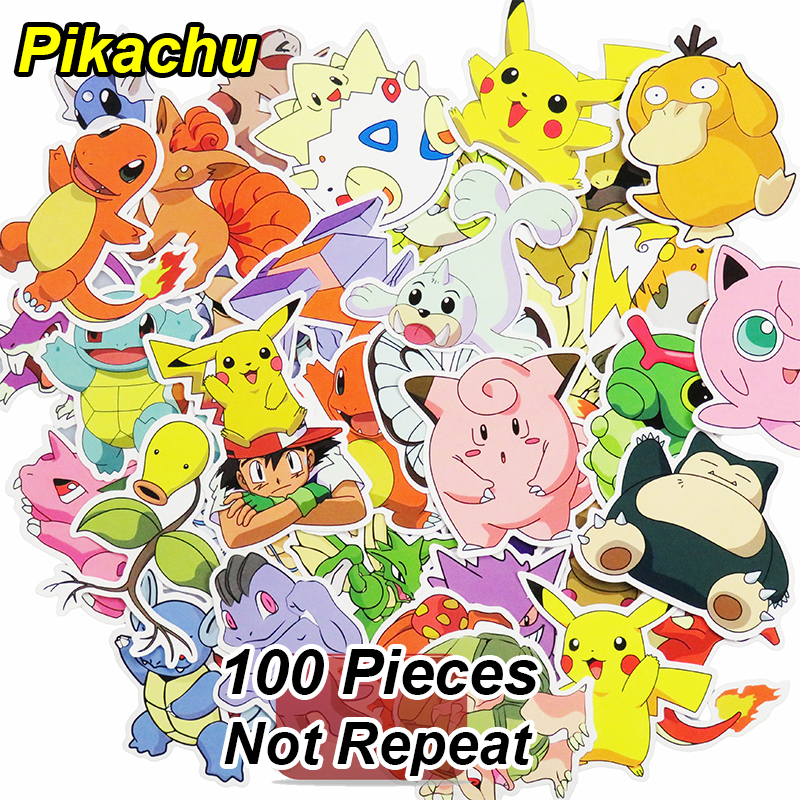 все цены на 100 Pcs Pikachu Stickers Funny Cartoon Anime DIY Decals For Laptop Luggage Phone Car Styling Home Decor Toy Sticker Not Repeat