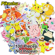 100 Pcs Pikachu Stickers Funny Cartoon Anime DIY Decals For Laptop Luggage Phone Car Styling Home Decor Toy Sticker Not Repeat(China)