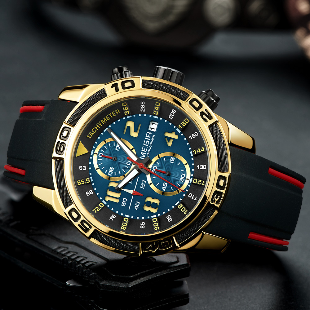 Megir Men Watches 2018 Luxury Brand Gold Quartz Man Silicone Chronograph Men Watches Big Sport Army Military Relogio Masculino-in Quartz Watches from Watches on AliExpress - 11.11_Double 11_Singles' Day 1