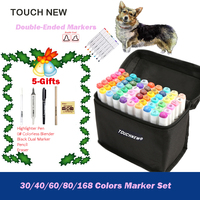 TOUCHNEW 30 40 60 80 168 Colors Dual Tip Art Marker Set Alcohol Sketch Markers Pen