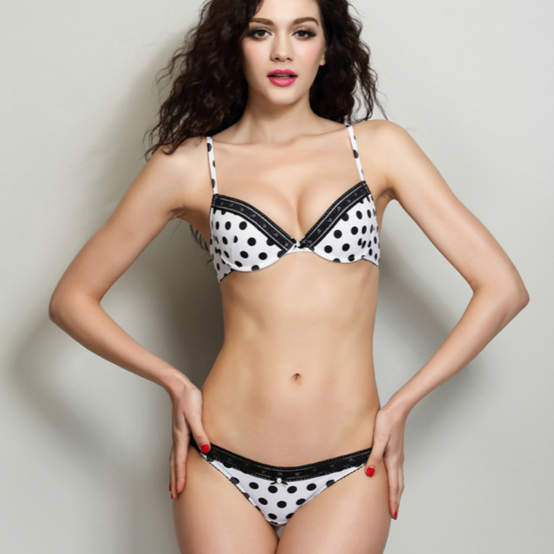 13bf9c4def2 Women's Push Up Bra And Panty Set Black White Polka Dot Cute Underwear  Sutia with Sexy Thong Plus Size 38/85 Intimates Lingerie
