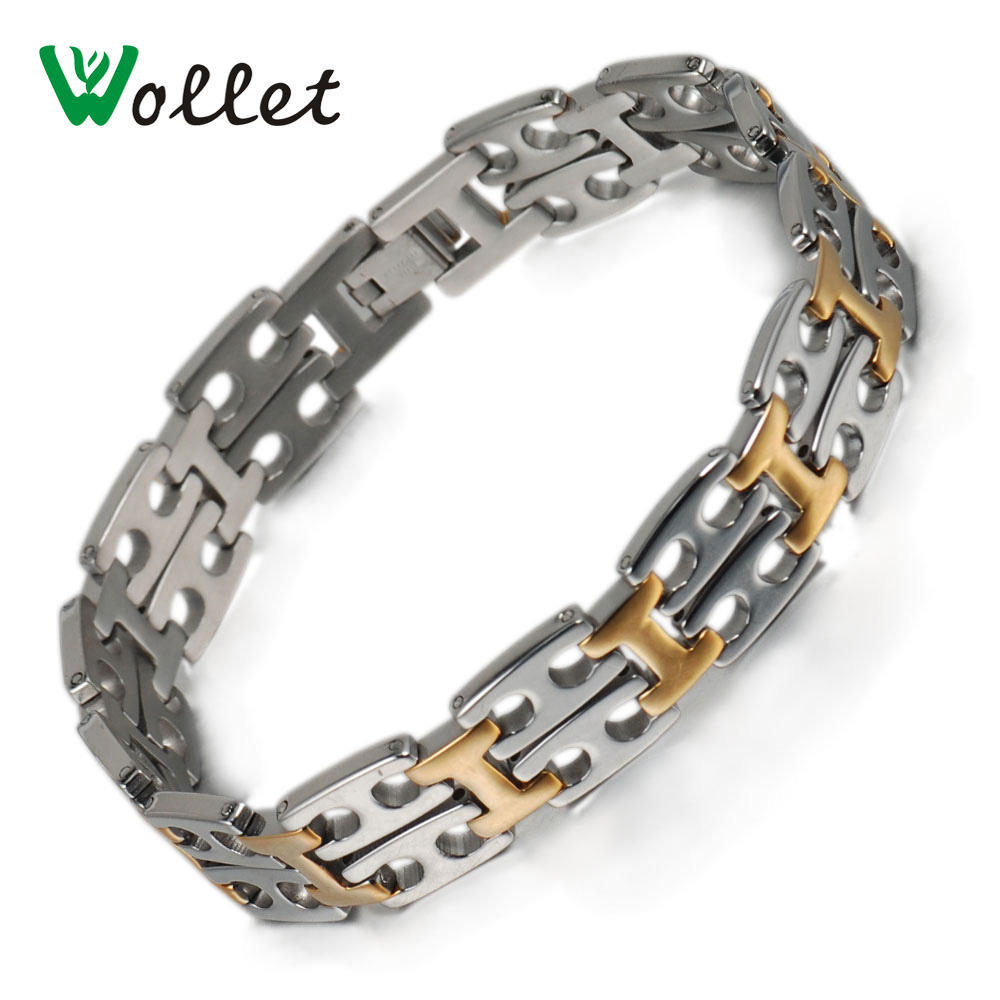 Wollet Jewelry 15 MM New Fashion Rock Style Gold Filled Stainless Steel Bracelet for Man