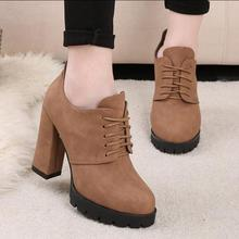 2016 Women Ankle Boots Autumn Women Lace Up High Heels Platfrom Motorcycle Boot Shoes Woman 3 Colors Size 35-39