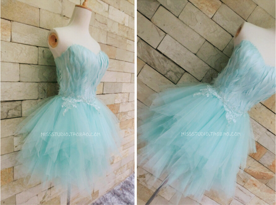 blue feathers short mini   prom     dresses   2015 new design hot sexy sweetheart tulle lace appliques evening   dress   vestido de festa