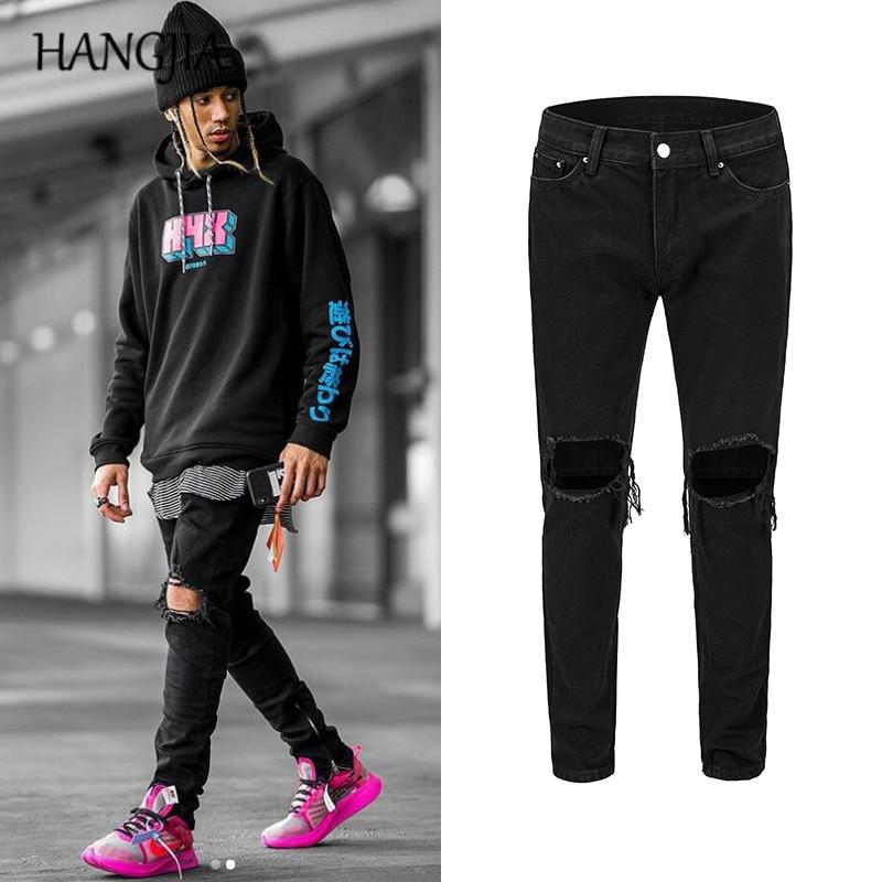 Mens Black Slim Fit Jeans Knee Hole Ankle Zipper Hip Hop Jeans Streetwear Fashionable Skinny Wash Destory Jeans Trousers Male