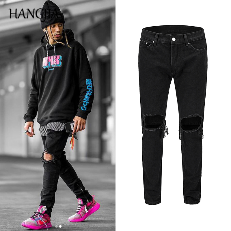 Mens Black Slim Fit   Jeans   Knee Hole Ankle Zipper Hip Hop   Jeans   Streetwear Fashionable Skinny Wash Destory   Jeans   Trousers Male