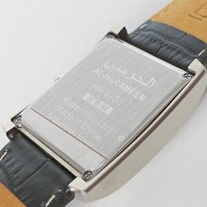 Image 2 - Azan montre pour tous les musulmans 100% Original islamique musulman montre bracelet avec boîte en cuir mosquée prière horloge 6208 argent
