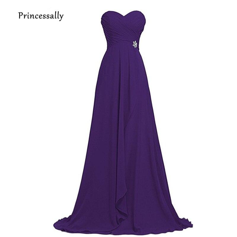Vestido De Festa Purple Bridesmaid Dresses New Long Chiffon Sweetheart  Elegant Wedding Party Fromal Prom Gown 46efdb8275d7