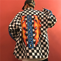 Instagram Hot Sales Fashion Chessboard Shirts New Unisex Hip Hop Printed Charm Fire Plaid Loose Hipster