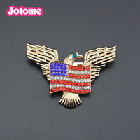 wholesale Fashion Rhinestone gold plated USA American Republican flag eagle Patriotism Brooch Pin for gift/party