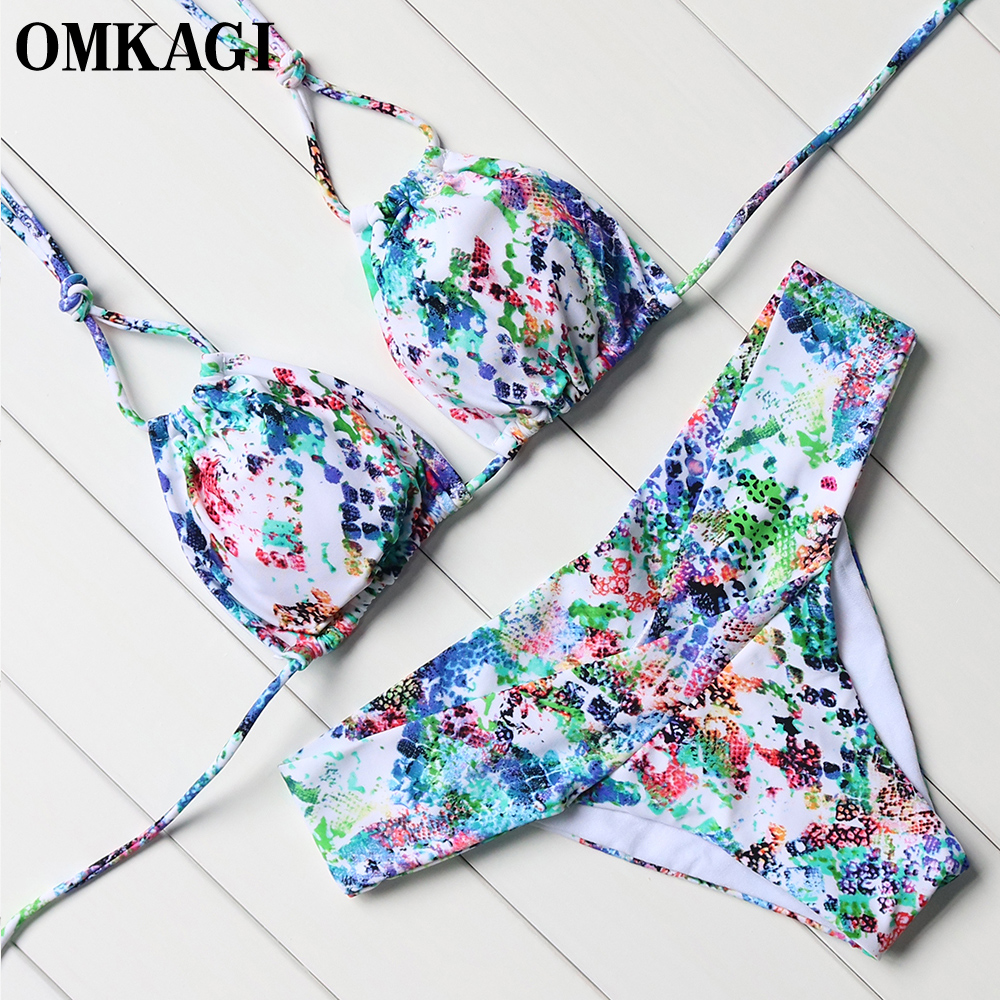Buy OMKAGI Sexy Bikini 2019 Swimsuit Swimwear Women Bathing Suit Beachwear Push Bikini Set Bandage Biquini Maillot De Bain Femme