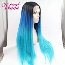 Cheap Black/Burg Ombre Synthetic Wigs For Black Women Nicki Minaj 28″Long Straight Heat Resistant Freetress Hair Synthetic Wig