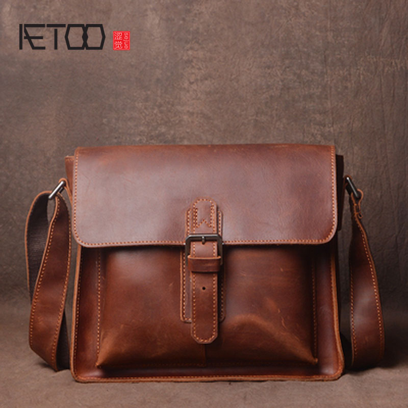 AETOO Original retro crazy horse leather shoulder bag hand first layer leather messenger bag simple men
