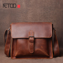 AETOO Original retro crazy horse leather shoulder bag hand first layer messenger simple men and women