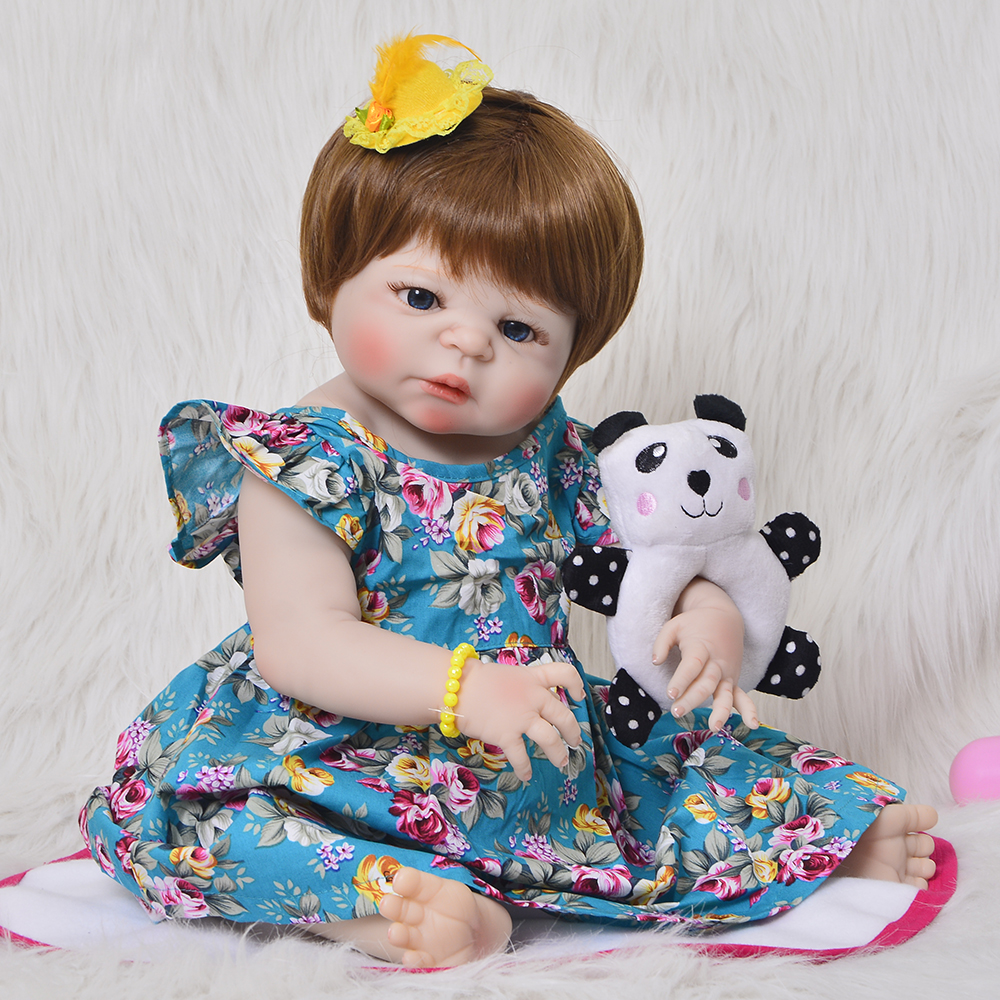 Bebes reborn  full silicone doll toys 2357cm reborn baby girl gift for child juguetes real newborn babies alive dollsBebes reborn  full silicone doll toys 2357cm reborn baby girl gift for child juguetes real newborn babies alive dolls