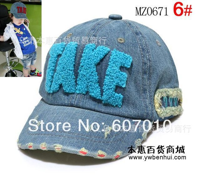 new style fashion TAKE baseball hat, snapbacks kids Embroidery jeans peaked cap Can Mix colors