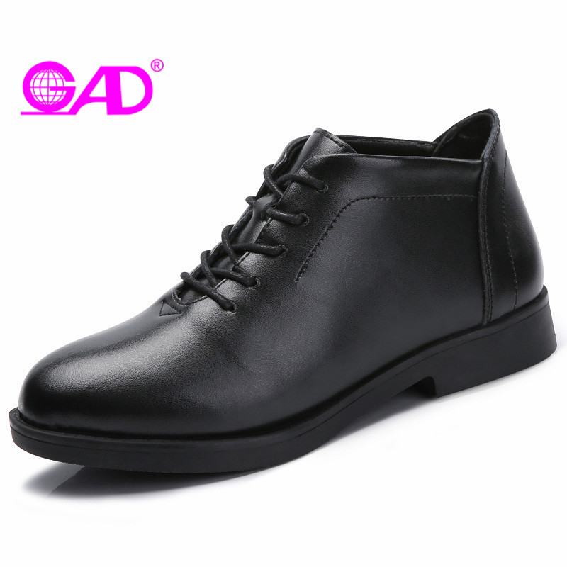 GAD Ankle Boots for Women 2018 Spring/Autumn New Design Round Toe Lace-up Women Shoes Boots Classic Black Leather Women Boots