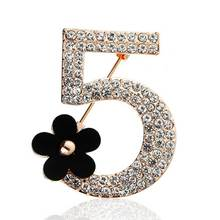 Full rhinestone number 5 flower brooch Luxury fashion wedding party letter woman boutonniere brooches gift