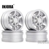 "INJORA 4Pcs Silver 1.55"" Aluminum Alloy Wheel 1.55 Beadlock Rim for 1/10 RC Crawler Car D90 TF2 Tamiya CC01 LC70 LC80 1"
