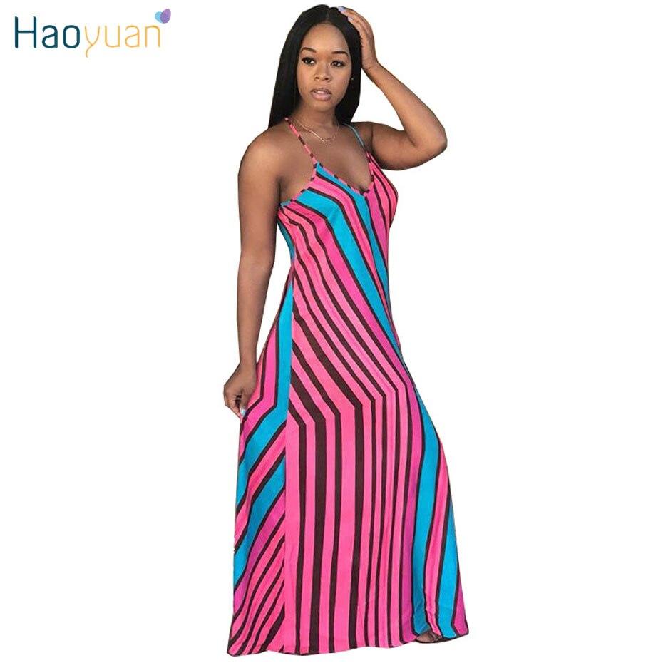 b5183e904bc HAOYUAN Casual Summer Maxi Dress Women Sundress 2018 Off Sholder Striped  Boho Robe Sexy Party Dresses Loose Long Beach Dress -in Dresses from  Women s ...