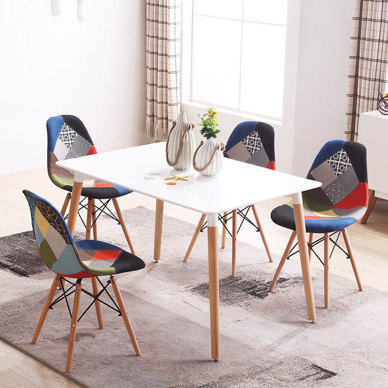 set of 4 mid century modern style patchwork upholstered dining chair wooden leg dining room eiffel