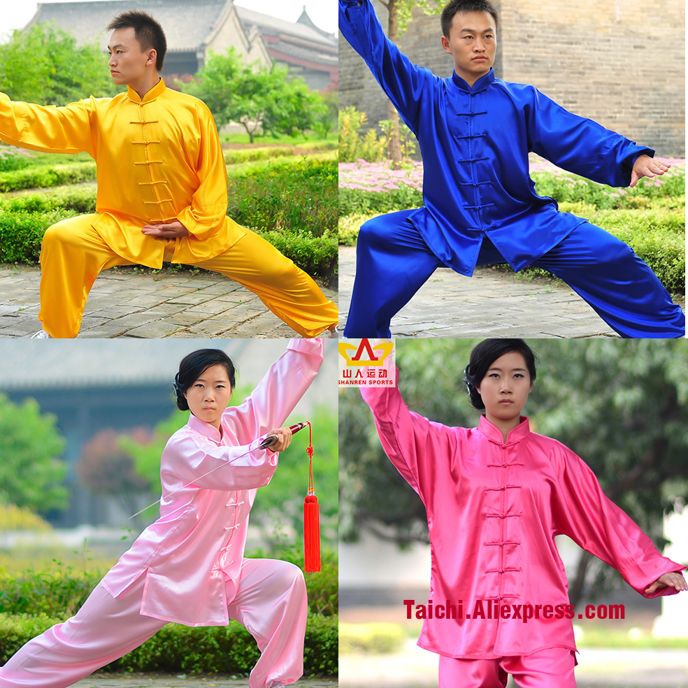 Tai Chi Clothes Elastic Fabric Men And Women Kung Fu Martial Art Suit  Chinese Stlye Sportswear Black White Red Yellow Pink Blue